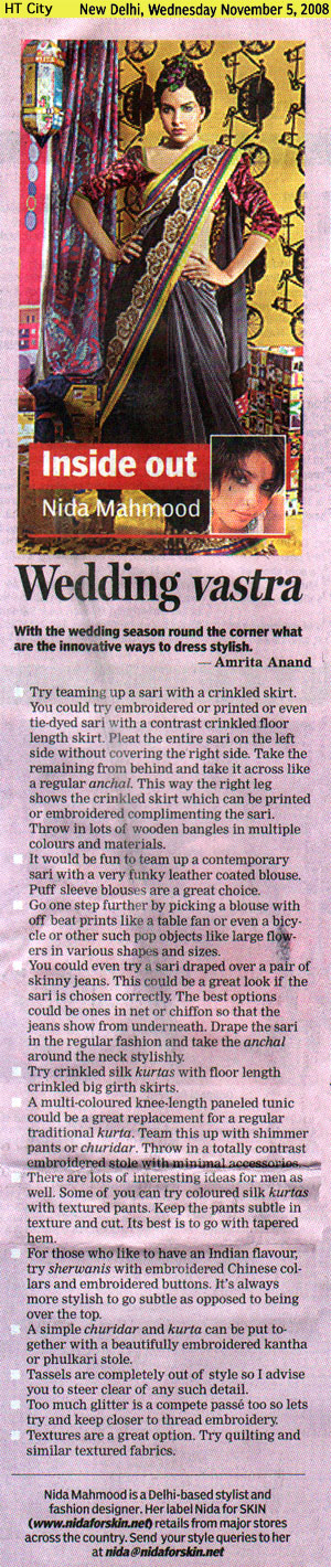 indian-fashion-designer-nida-mahmood-featured-in-HT-City-6-november-2008