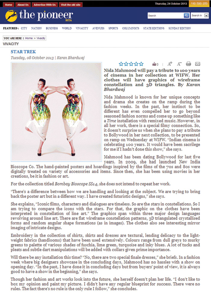 indian-fashion-designer-nida-mahmood-featured-in-daily-pioneer-for-bombay-bioscope