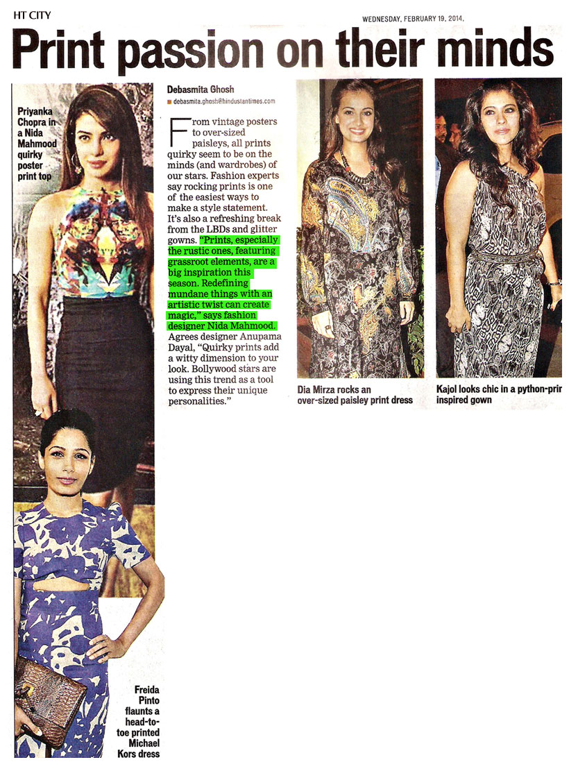 indian-fashion-designer-nida-mahmood-featured-in-HT-city-newspaper-for-bombay-bioscope