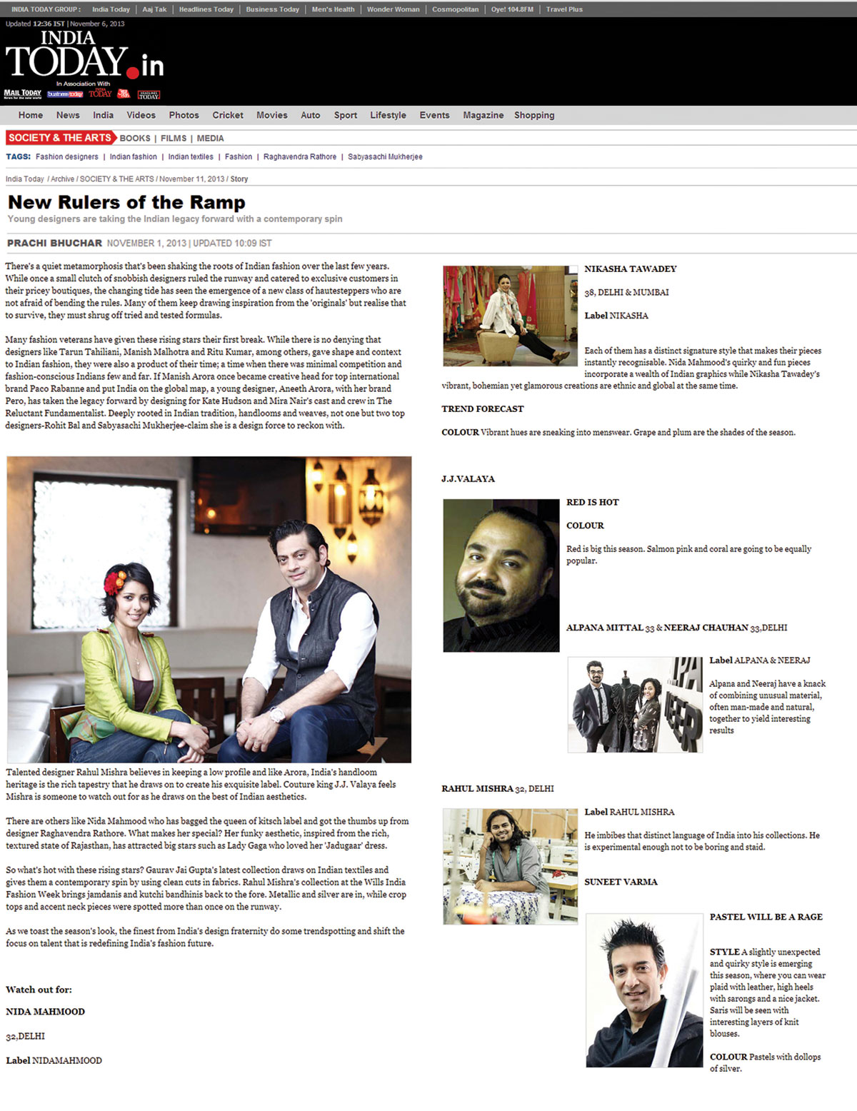 indian-fashion-designer-nida-mahmood-featured-in-India-today-news-for-bombay-bioscope