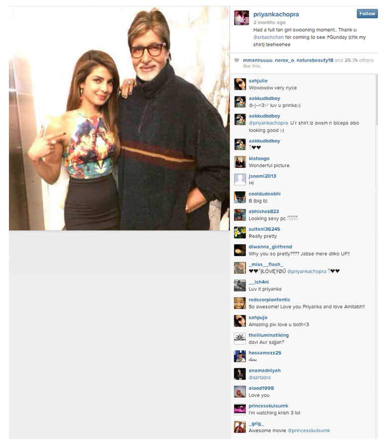 indian-fashion-designer-nida-mahmood-featured-in-indian-actress-priyanka-chopra-instagram-account-with-amitabh-bachchan-for-bombay-bioscope