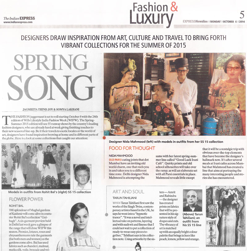 indian-fashion-designer-nida-mahmood-featured-in-the-indian-express-newspaper-october-2015