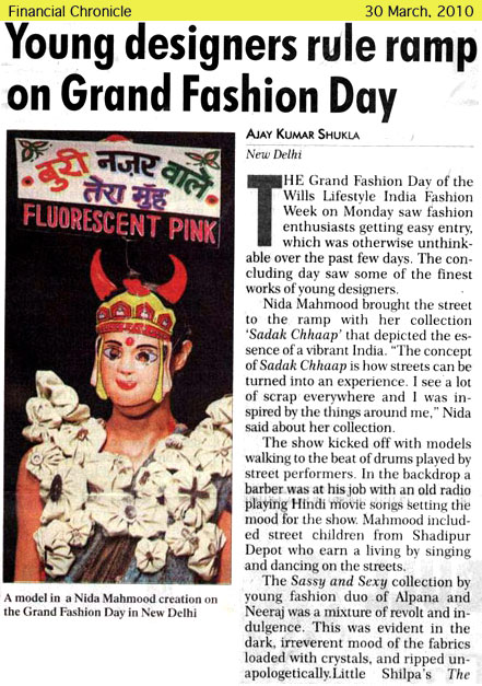 indian-fashion-designer-nida-mahmood-featured-in-Financial-Chronicle-newspaper-for-Sadak-chhap-collection